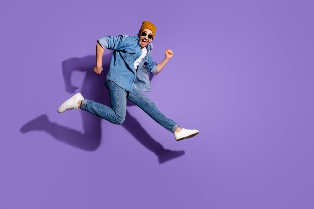 happy man jump