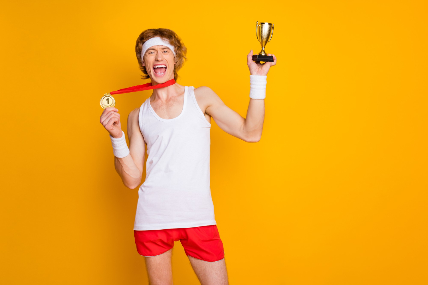 successful guy demonstrating trophy