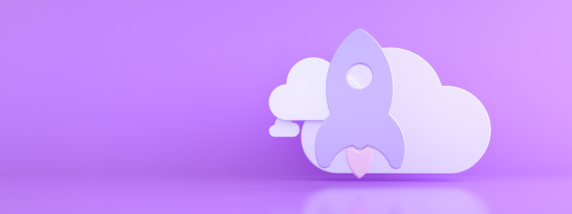rocket with cloud purple background